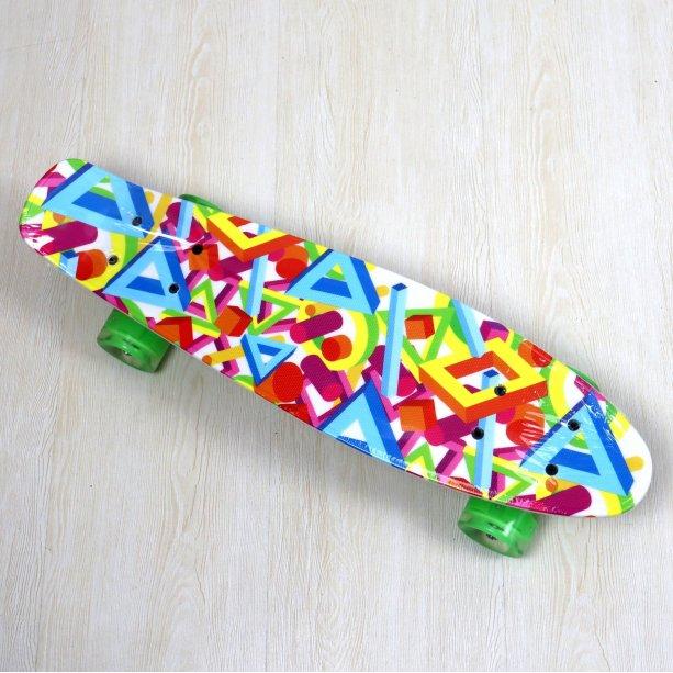 Детский Скейт Best Board, доска=55см, колёса PU, светятся, d=6см