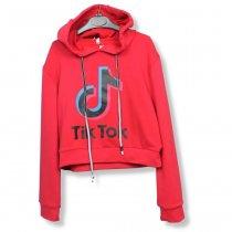 Детский кроп-топ для девочки с капюшоном Tik-Tok красный