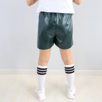 Детские кожаные шорты для девочки на резинке зеленые