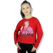 Детский кроп-топ для девочки со стразами Девушка красная тм Viollen
