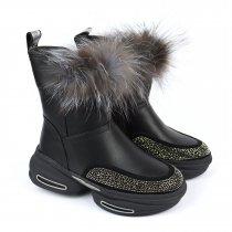 Зимние кожаные сапоги для девочки с натуралным мехом тм Bi&Ki