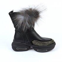 Кожаные зимние ботинки с пушком для девочки тм Bi&Ki