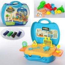 Пластилин MK 2324-1 4цв-стик, стройплощ, инструм, 30предм, в чемодане, в карт.оберт, 24-22-10см для детей