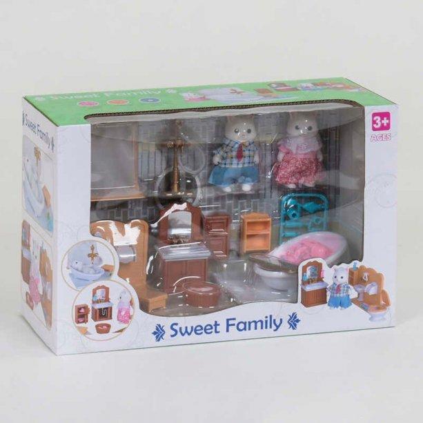 Игрушка Набор мебели для ванной комнаты Счастливая семья 2 персонажа, в коробке