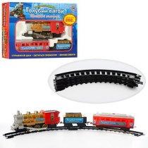 Детская Железная дорога Голубой вагон с музыкой и светом, дым, длина путей 282см, в коробке, 38-26-7 см