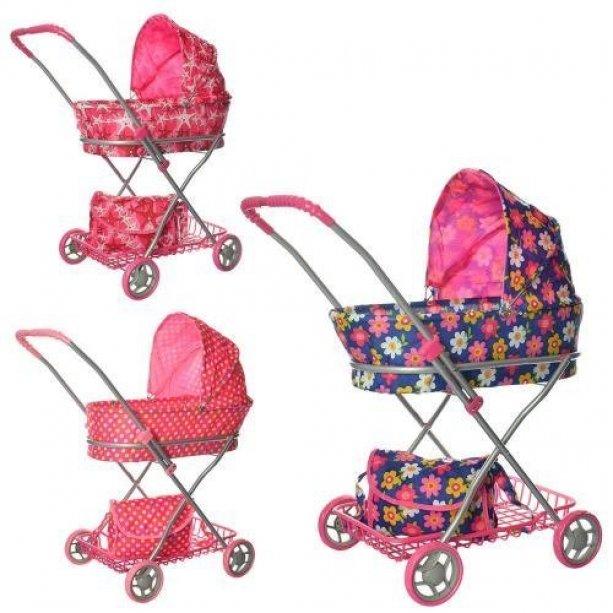 Коляска для куклы, желтая, 67-63-35, корзина, сумка, выс до ручки-66см, в кульке, 62-35-12см, для детей