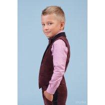 Костюм бордовый для мальчика Жилет, Брюки, Рубашка с бабочкой бордовый бархат тм Zironka