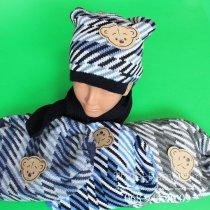 Детский комплект шапка и шарф на мальчика, Польша размер 52-54