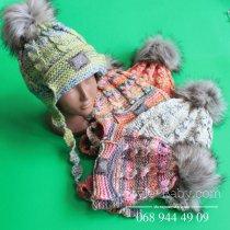 Шапка вязаная для девочки с меховым помпоном, Польша размер 48-50