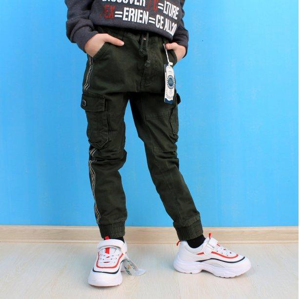 Детские джоггеры для мальчика с накладными карманами хаки тм S&D