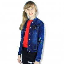 Детский джинсовый жакет для девочки с вышивкой тм Seagull Wear
