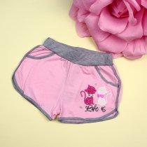 Трикотажные шорты на девочку Котики розовые тм Seagull